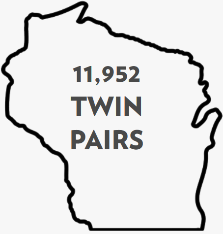 outline of wisconsin highlighing the nuber of twins in the study